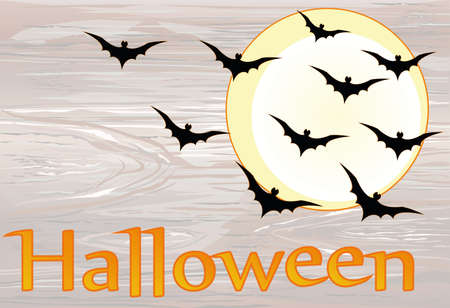 Halloween. Night with the moon and bats. Vector onwooden background. The concept of an invitation to a party in traditional colors with a place for your text.