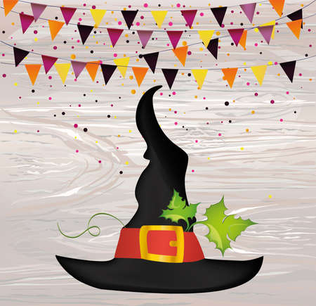 Halloween. Witch hat and garland of flags and confetti. Vector on wooden background. Greeting card or invitation for a party and a party.