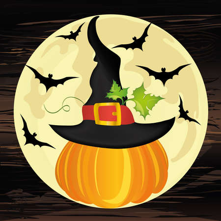 Halloween. Pumpkin in witch hat with the moon and bats. Vector on wooden background. The concept of an invitation to a party in traditional colors with a place for your text.