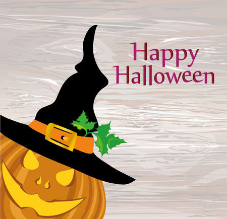 Halloween pumpkin with a black witch hat. Vector illustration on wooden background. greeting card or invitation to a party and a party.