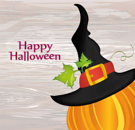 Halloween. Witch hat. Vector on wooden background. Greeting card or invitation for a party and a party. Illustration