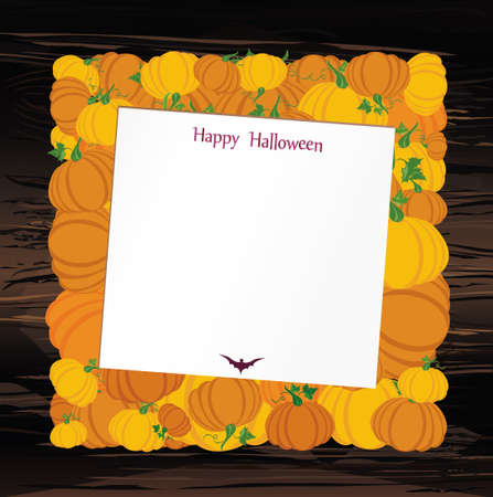 Halloween. Pumpkins in the form of a square. Greeting card or invitation for a holiday. Empty form for text or message. Vector on wooden background.