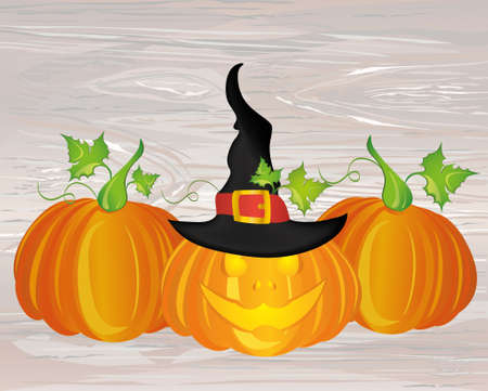Halloween. Pumpkins with  Witch hat. Vector on wooden background. Greeting card or invitation for holiday and  party. Illustration