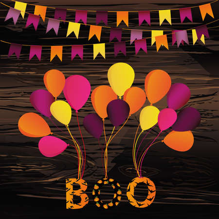 Halloween Carnival with flags Garlands with balloons on them hang the letters boo. Vector on wooden background. Greeting card or invitation for a holiday.