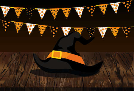 Carnival for the holiday with the flags of Garland and the hat of the witch. Festive drawing. Letters Happy Halloween. Vector on wooden background. The concept of an invitation to a party.