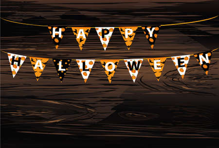 Carnival for holiday with flags of Garland. Festive pattern.  Letters Happy Halloween. Vector on wooden background. The concept of an invitation to a party. Empty space for text or advertising. Illustration