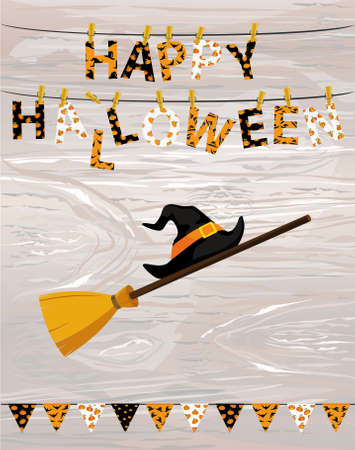 Broom with hat of a witch with flags and Letters and an inscription of a happy Halloween hang on clothespins on a rope. Vector on wooden background. Festive garland. Greeting card or invitation to a party.
