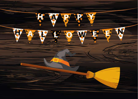 Broom withhat and Carnival for holiday with flags of Garland. Festive pattern.  Letters Boo Happy Halloween. Vector on wooden background. The concept of an invitation to a party. Illustration