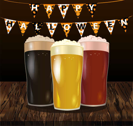 A glass with a light, red and dark beer. Invitation to the holiday Halloween. Carnival for holiday with flags of Garland. Vector on wooden background. Greeting card.