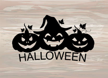 Halloween. Three Silhouette of a pumpkins. Vector on wooden background. Greeting card for a holiday or an invitation to a party.