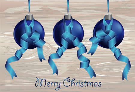 Three merry Christmas blue balls  with ribbons. Banner with copy space. Vector on wooden background. Greeting card For a holiday or a party Illustration