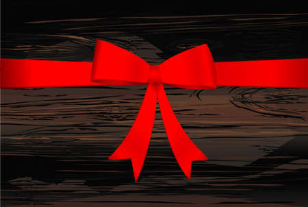 Red bow with ribbon . Vector on wooden background. For a holiday or a party.