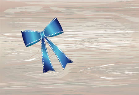 Blue bow . Vector isolated on wooden background. For a holiday or a party.
