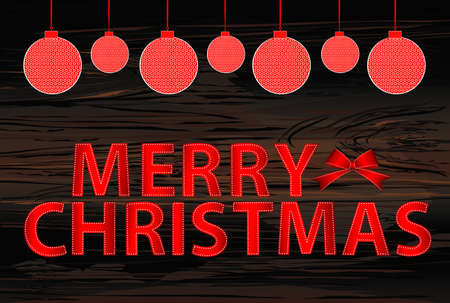 Letters and the inscription of merry Christmas with red balls and a bow. Vector on wooden background. Greeting card or invitation to a party.