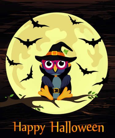 Halloween. Cartoon owl in a witch costume against a background of the moon with bats sitting on a branch. Vector on wooden background. Poster  invitation  greeting card on holiday.