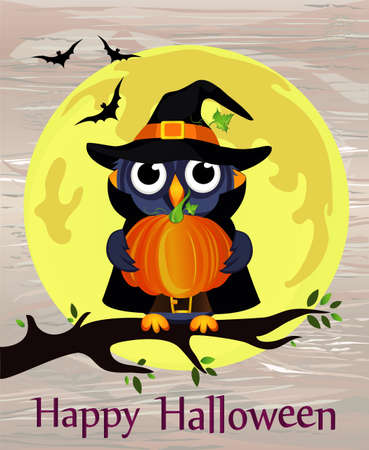 Halloween. Cartoon owl in a witch costume with pumpkin against a background of the moon with bats sitting on a branch. Vector on wooden back. Poster  invitation  greeting card on holiday.