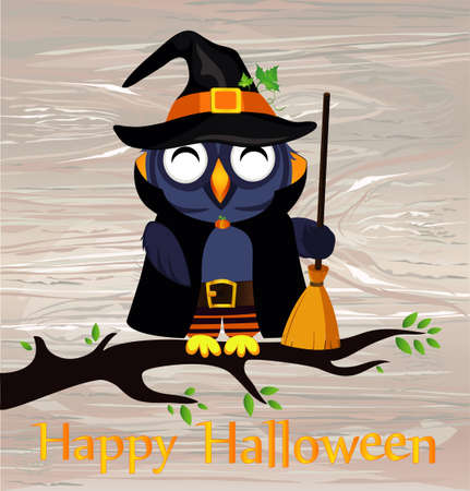 Halloween. Cartoon owl in a witch costume with broom  sitting on a branch. Vector on woodenbackground. Poster  invitation  greeting card on holiday. Illustration