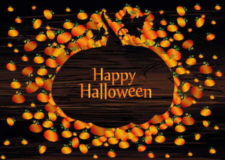 Composition of pumpkins. Halloween. Greeting card for a holiday or an invitation to a party. Empty space for text Vector on wooden background.