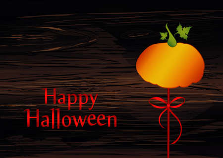 Halloween. Pumpkin on a stick with a bow and ribbon. Vector on wooden background. Greeting card  invitation to a party. Empty space for text or advertising.