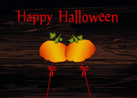 Halloween. Pumpkins on a sticks with a bows and ribbons. Vector on wooden background. Greeting card  invitation to a party. Empty space for text or advertising.