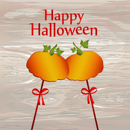 Halloween. Pumpkins on a sticks with a bows and ribbons. Vector. Greeting card  invitation to a party. Empty space for text or advertising.