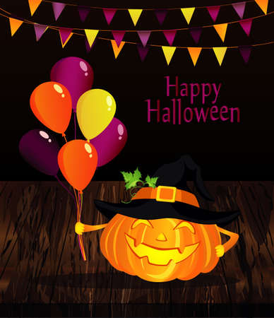 Halloween. Pumpkin in a witch hat with lot of balloons. Vector on wooden background. Greeting card for a holiday or an invitation to a party. Garland of flags.