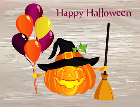 Halloween. Pumpkin in a witch hat with a broom and a lot of balloons. Vector on wooden background. Greeting card for a holiday or an invitation to a party.