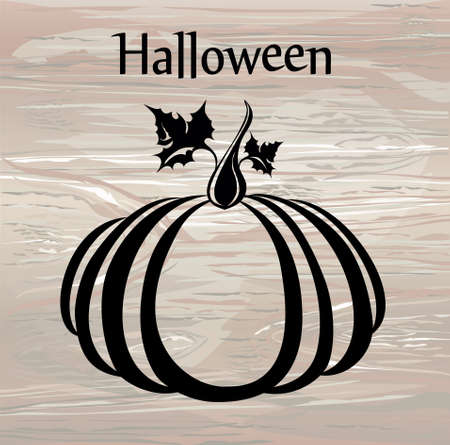 Halloween. Silhouette of a pumpkin. Vector on wooden background. Greeting card for a holiday or an invitation to a party.