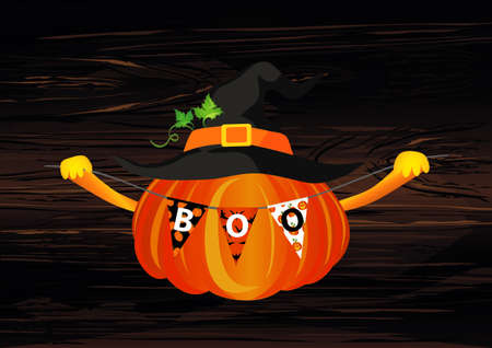 Halloween. Pumpkin in a velvet hat holds a garland with flags with the letters boo. Vector on wooden background. Greeting card for a holiday or an invitation to a party.