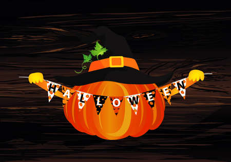 Pumpkin in a witch hat holds a garland with flags with the letters halloween. Vector on wooden background. Greeting card for a holiday or an invitation to a party.