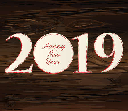 Figures 2019 of paper. New Year, Christmas, winter theme. Vector. Greeting card on a wooden background