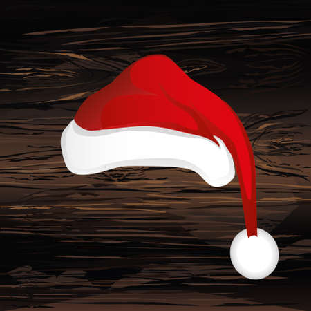 Merry Christmas, Santa Claus hat. Vector. Greeting card on wooden background.
