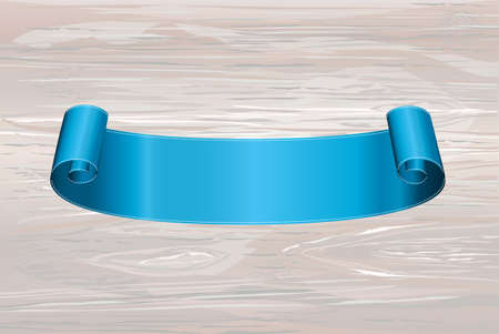 Decorative blue ribbon banner with copy space on wooden background. Vector. For a holiday or a party. Illustration