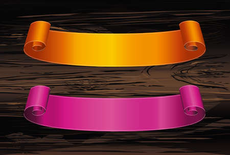 Decorative orange and purple ribbon banner with copy space, on wooden background. Vector. For a holiday or a party for Halloween.