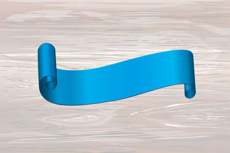 Decorative blue ribbons banner with copy space on wooden background. Vector. For a holiday or a party.