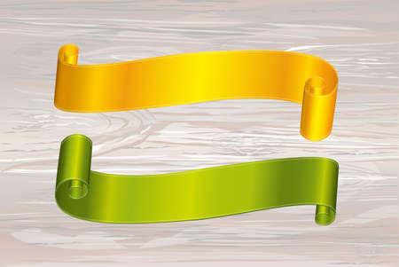 Decorative yellowgold and green ribbons banner with copy space on wooden background. Vector. For a holiday or a party.