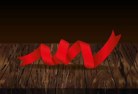 Decorative red ribbons banner with copy space on wooden background. Vector. For a holiday or a party. Illustration