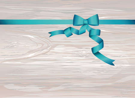 Decorative blue ribbons with bow. With copy space. Vector on wooden background. For a holiday or a party.