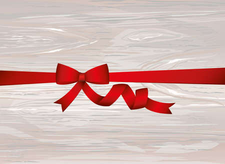 Decorative red ribbons with bow. With copy space. Vector on wooden background. For a holiday or a party.