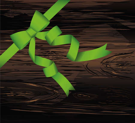 Decorative green ribbons with bow banner in the corner diagonally. With copy space. Vector on wooden background. For a holiday or a party.