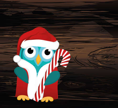 Owlet  in Santa Claus costume holds a Christmas candy.  Greeting card for the new year. Empty place for your text or advertisement. Vector on wooden background.
