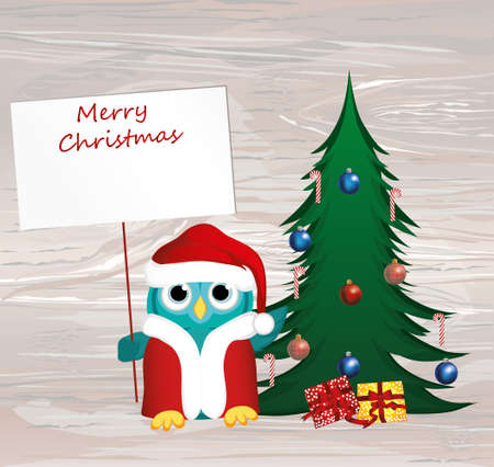 Owl in Santa Claus costume against the background of a Christmas tree, holds an empty poster for your text or ad. Greeting card for the New Year holiday. Vector on wooden back.