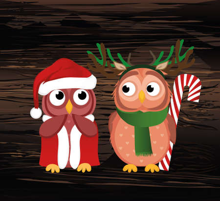 A sweet Owlet boy in a deer suit wants to give a Christmas candy gift to a girl in Santa Claus costume. She is embarrassed and waiting. Greeting card for the new year. Empty place for your text or ad. Vector on wooden back. Illustration
