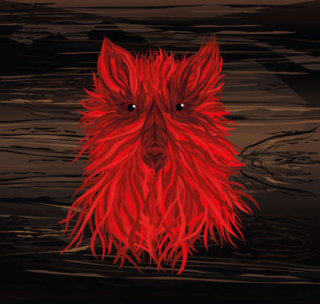 Fiery head of a dog or a wolf. Vector on wooden background. Symbol of the year 2030. New Year. . Greeting card or invitation for a holiday. Illustration