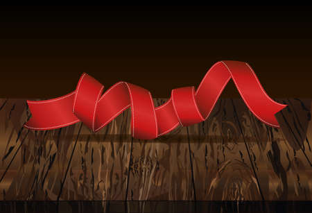 Decorative red ribbons banner with copy space. Vector on wooden background. For a holiday or a party.