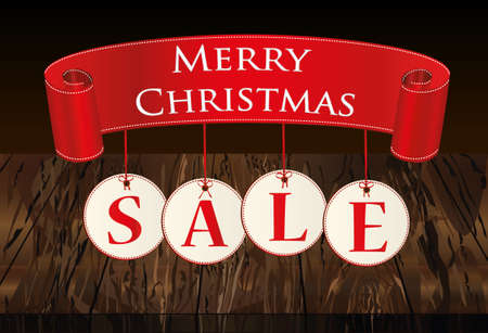 Christmas sale banner with decorations. Decorative red ribbons. Vector on wooden background. For a holiday or a party.