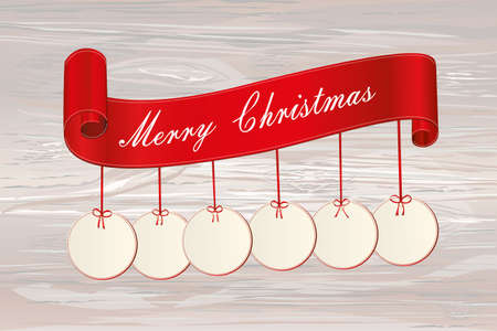 Christmas sale banner with Christmas decorations balls. Decorative red ribbons. Vector on wooden background. For a holiday or a party. Illustration