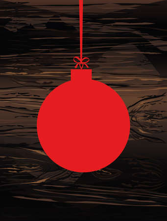 Merry Christmas red ball with bow and  ribbon. Banner with copy space. Vector on wooden background. Greeting card For a holiday or a party.