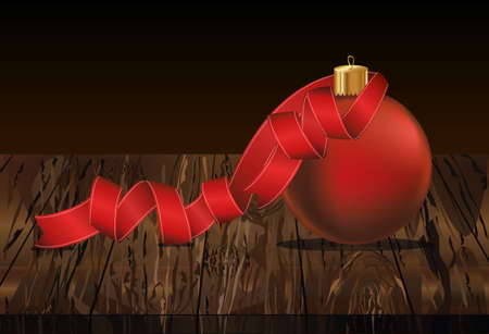 Merry Christmas ball with red ribbon. Banner with copy space. Vector on wooden background. Greeting card For a holiday or a party. Illustration