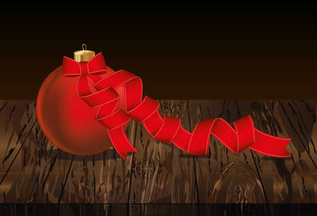 Merry Christmas ball with red ribbon and bow. Banner with copy space. Vector on wooden background. Greeting card For a holiday or a party.
